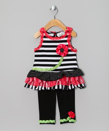 Black & Coral Stripe Flower Tunic & Leggings - Toddler
