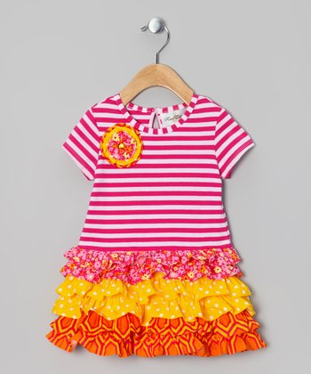 Fuchsia & Orange Stripe Ruffle Dress - Toddler & Girls