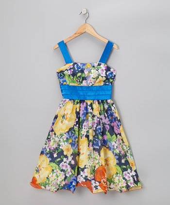 Yellow & Blue Garden Floral Dress – Girls