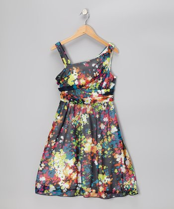 Black & Lime Floral Dress - GIrls