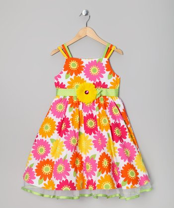Orange & Pink Flower Dress - Toddler & Girls