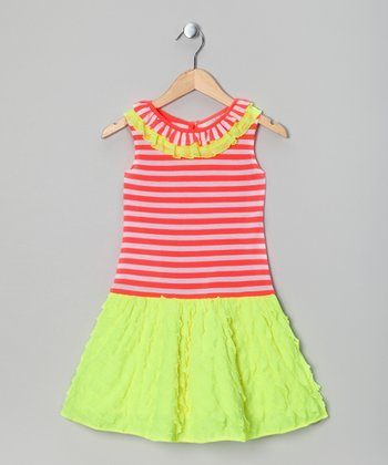 Neon Lime & Orange Stripe Dress - Toddler & Girls