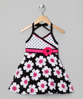 Hot Pink & Black Daisy Dress - Toddler