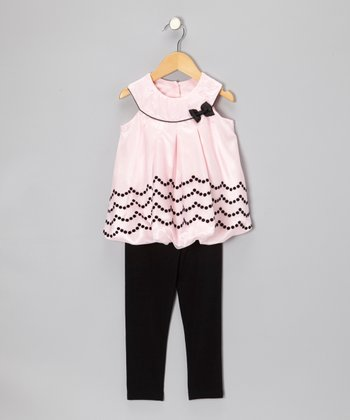 Pink & Black Yoke Tunic & Leggings - Infant
