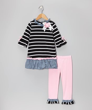 Black & Pink Stripe Bubble Tunic & Leggings - Toddler & Girls