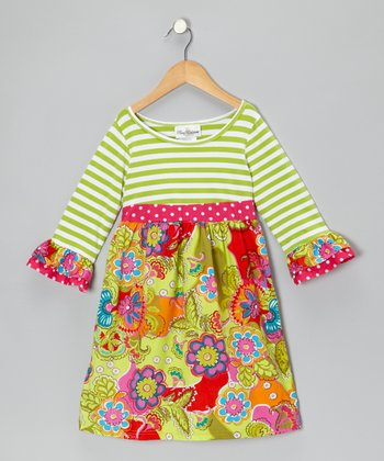 Lime Stripe Floral Dress - Infant & Girls