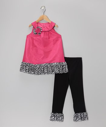 Fuchsia & Black Zebra Tunic & Leggings - Infant