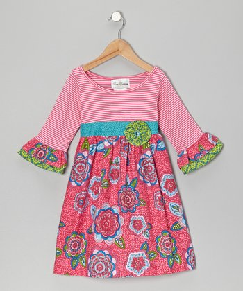 Pink & Fuchsia Stripe Floral Dress - Girls
