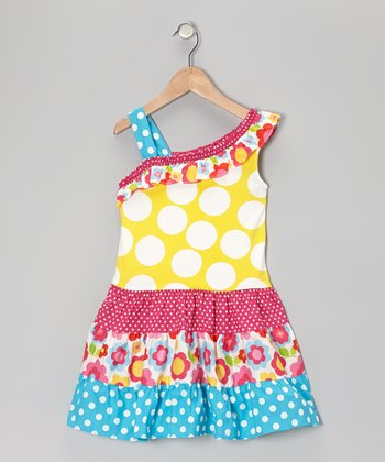 Yellow Polka Dot Tiered Dress - Girls
