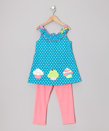 Turquoise Cupcake Tunic & Pink Leggings - Girls
