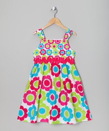 Hot Pink & Lime Flower Dress - Girls