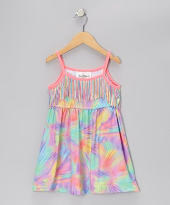 Pink & Purple Fringe Tie-Dye Dress - Toddler & Girls