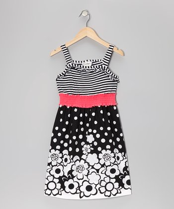 Black Stripe Floral Dress - Girls
