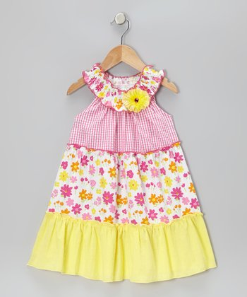 Fuchsia & Yellow Gingham Floral Dress - Infant, Toddler & Girls