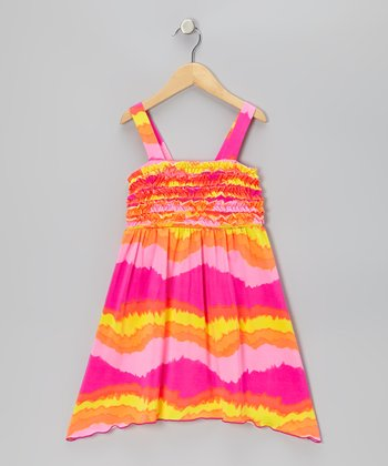 Neon Pink & Orange Ruffle Tie-Dye Dress - Toddler & Girls