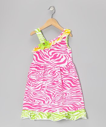 Pink & Yellow Zebra Dress - Toddler & Girls