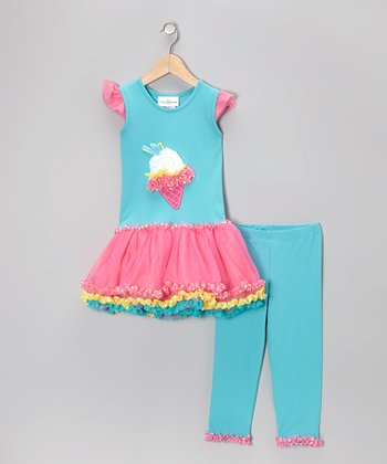 Aqua & Pink Ice Cream Tunic & Capri Pants - Toddler & Girls
