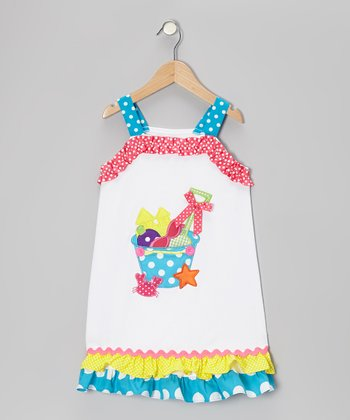 White & Turquoise Bucket Dress - Toddler & Girls