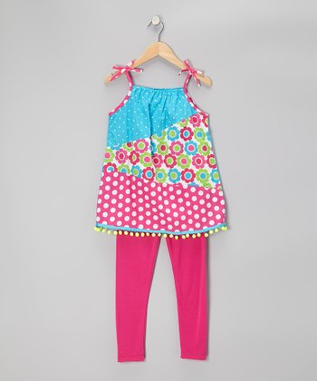 Fuchsia & Turquoise Polka Dot Tunic & Leggings - Toddler & Girls