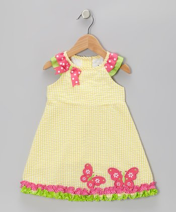 Yellow & Pink Butterfly Dress - Toddler & Girls