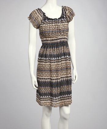 Tan & Gray Print Dress