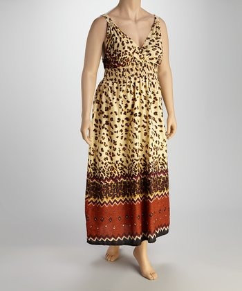 Ivory & Brown Animal Sleeveless Maxi Dress - Plus