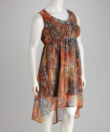 Orange Plus-Size Hi-Low Dress