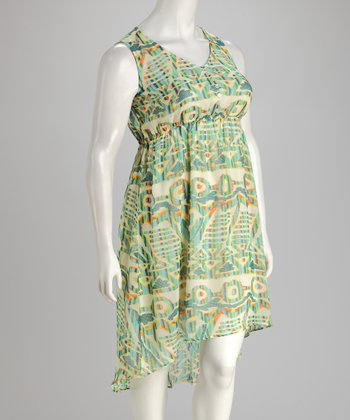 Green & Yellow Hi-Low Dress - Plus