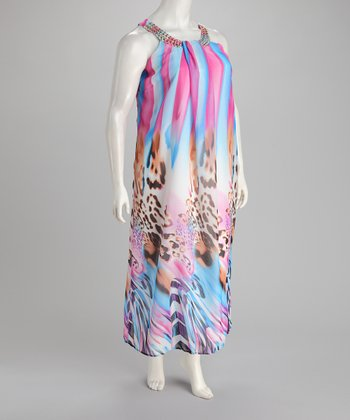 Pink & Blue Maxi Dress - Plus