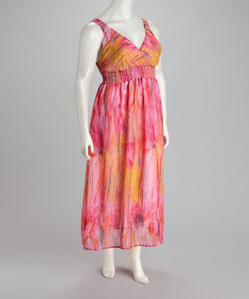 Pink & Orange Maxi Dress - Plus