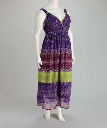 Purple & Green Maxi Dress - Plus