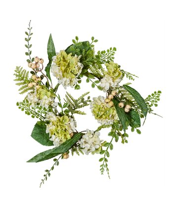 White Hydrangea & Fern Candle Ring