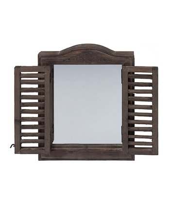 Antique Brown Shuttered Mirror