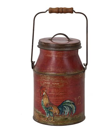 Red French Rooster Milk Can