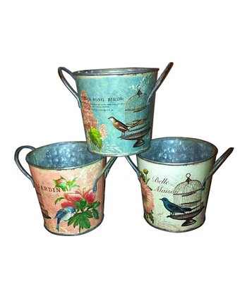 Flower & Bird Design Metal Bucket Set