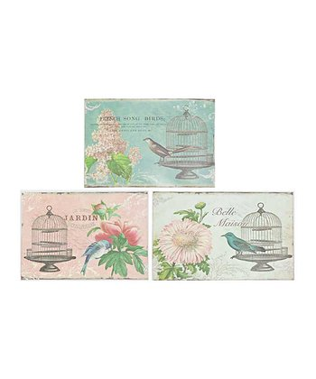 Flower & Bird Design Metal Plaque Set