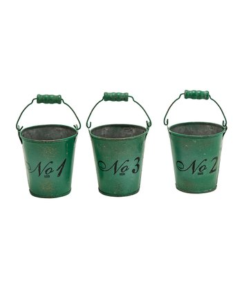 Green Distressed Bucket Set