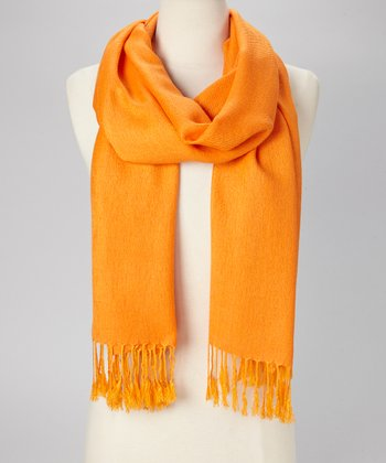 Bright Orange Solid Pashmina-Silk Blend Scarf