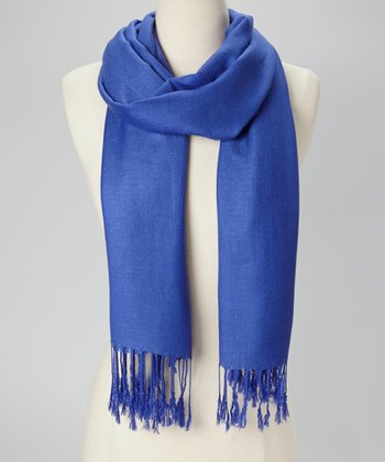 Royal Blue Solid Pashmina-Silk Blend Scarf
