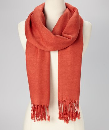 Burnt Orange Solid Pashmina-Silk Blend Scarf