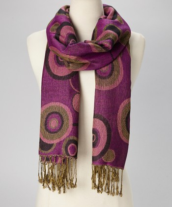Purple Reversible Pashmina-Silk Blend Scarf
