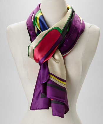 Purple & Seafoam Abstract Silk-Blend Scarf
