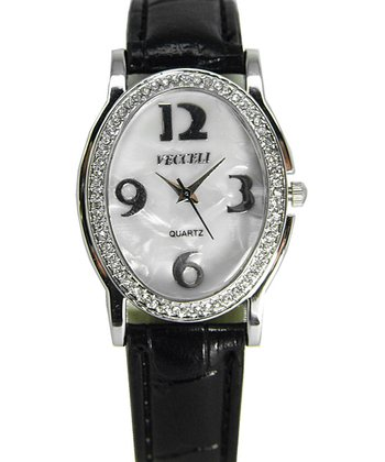 Black Crystal Oval Watch