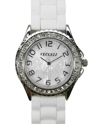 White & Silver Crystal Link Watch