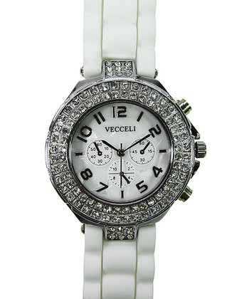 White Crystal Link Watch