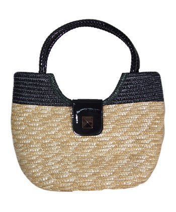 Black & Natural Two-Tone Straw Satchel