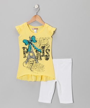 Yellow 'Paris' Tunic & White Shorts - Toddler