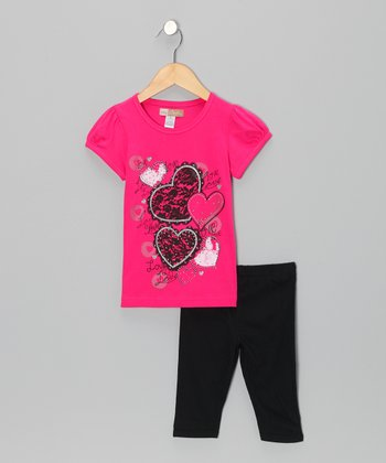 Red Heart Top & Black Shorts - Toddler