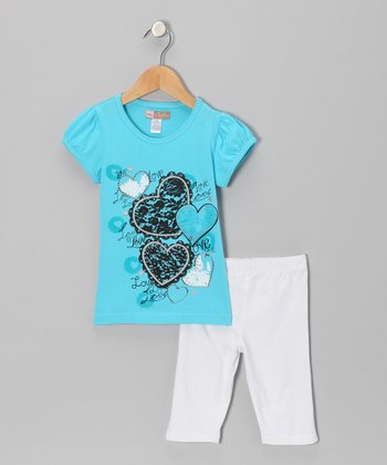 Turquoise Heart Top & White Shorts - Toddler
