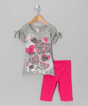 Gray 'Love' Top & Fuchsia Shorts - Toddler